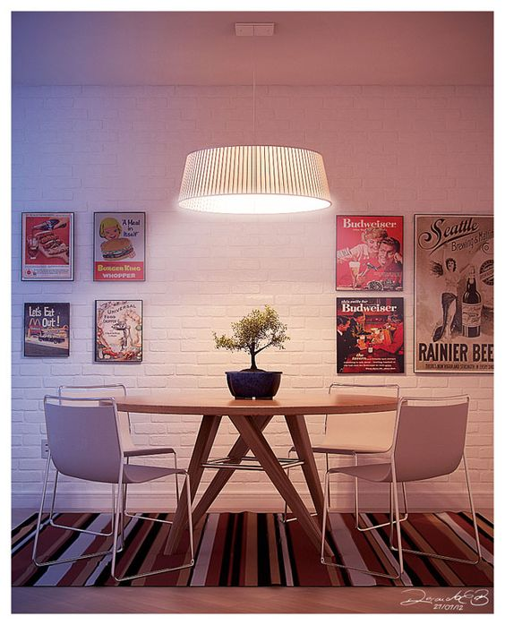 Sala De Jantar Redonda ~ sala de jantar, madeira, branco, tijolinhos, mesa redonda, posters