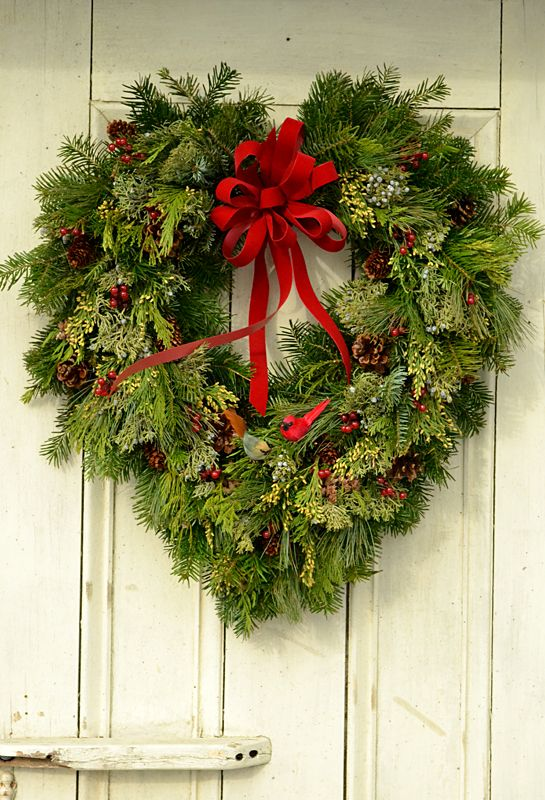 Wreaths don't have to be round! Click back to the article to see more examples of creative wreaths at Lockwood's Greenhouses in Hamburg, NY. Photo copyright Connie Oswald Stofko