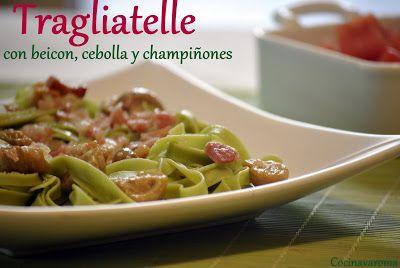 Cocina Varoma: Tagliatelle con beicon, champiñones y cebolla.
