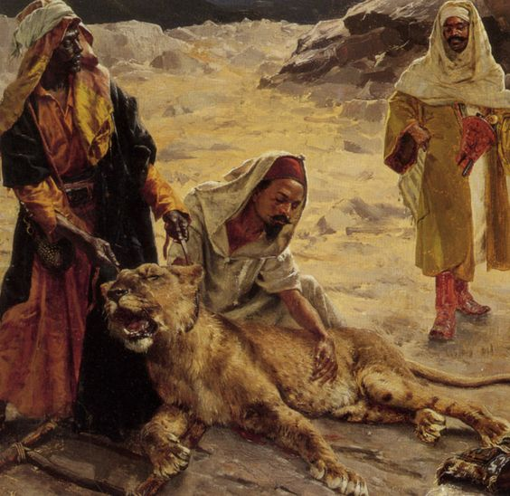Captured Lion by Rudolf Ernst: