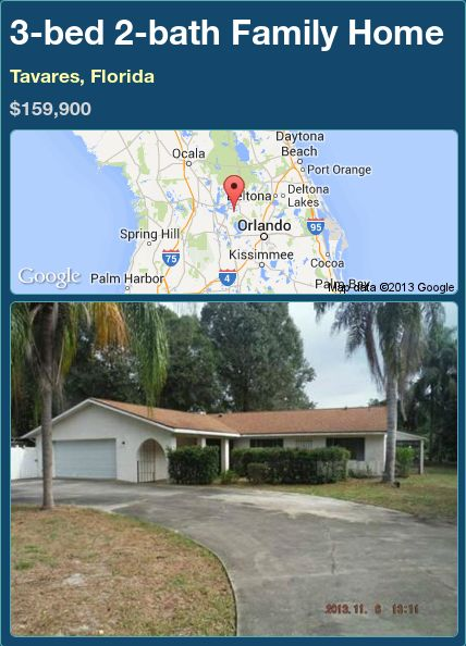 3-bed 2-bath Family Home in Tavares, Florida ►$159,900 #PropertyForSale #RealEstate #Florida http://florida-magic.com/properties/93458-family-home-for-sale-in-tavares-florida-with-3-bedroom-2-bathroom