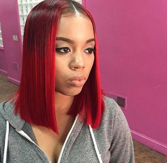 Straighthair Red Bob Hairstyles With Dark Roots Click To Get The Same Weave Hairstyles Red Bob Hair Wig Hairstyles