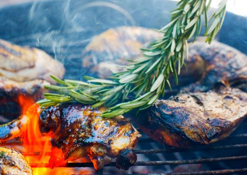 Wake up backyard herbs and slap me now! Grilled Rosemary Chicken  Infuse lemony, garlicky chicken with even more flavor by basting it with rosemary branches dipped in olive oil......Bon Appétit Magazine  Sweet summer!
