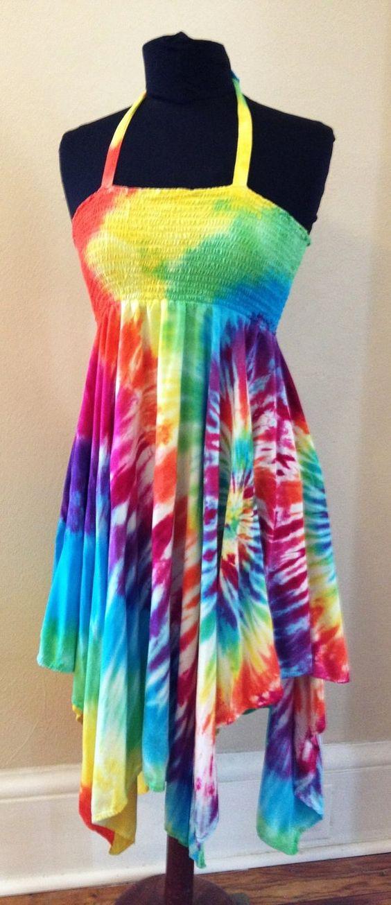 Tie Dye Dress Skirt Hippie Dress Boho Summer Dress Beach ...