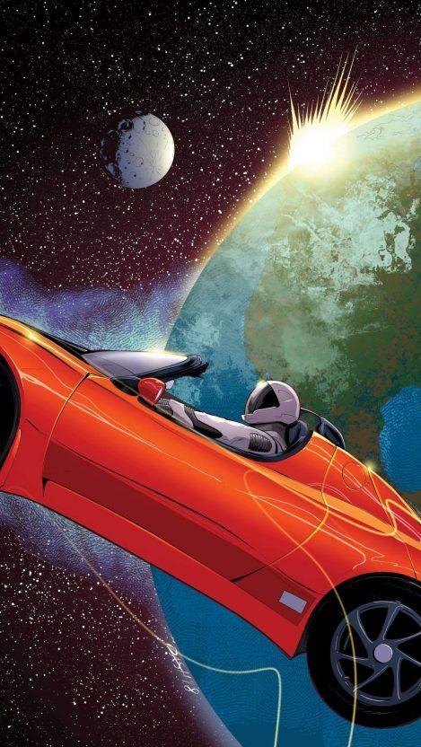 Tesla In Space Iphone Wallpaper Free 1 Getintopik In 2020 Space Iphone Wallpaper Wallpaper Space Space Artwork