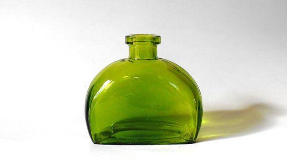 Vaciar verde rectangular con botella de esquinas redondeadas, 6 oz, 177 ml, de vidrio coloreado decorativo, florero, regalo DIY, favor de la boda, fuente del favor de partido