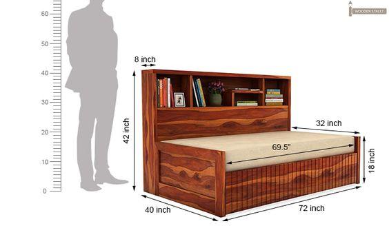 Savannah Sofa Cum Bed With Storage (Honey Finish)-6