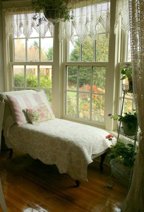 peaceful: Bay Window, Shabby Chic, Reading Spot, Lounge Chair, Reading Nooks, Beautiful Place, Sun Room, Sunroom