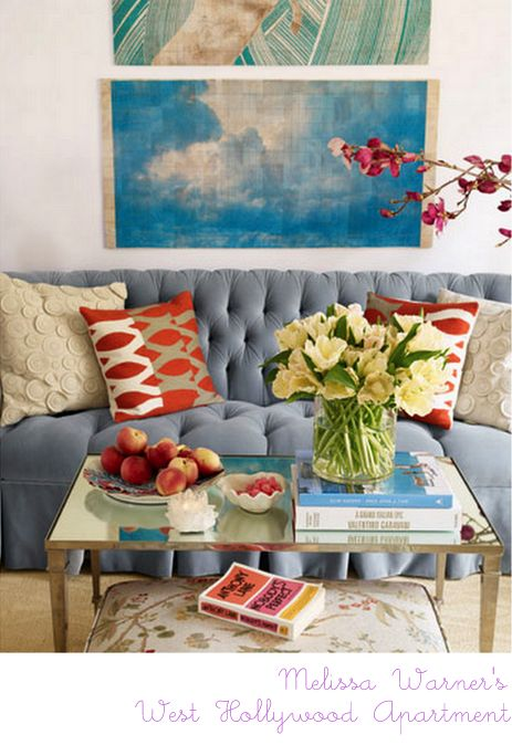 Blue. Red. Art.: Blue Couch, Coffee Table, Livingroom, Living Room, Blue Sofa, Color Combination