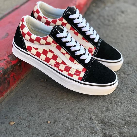Red and black vans by David on V A N S | Vans shoes fashion