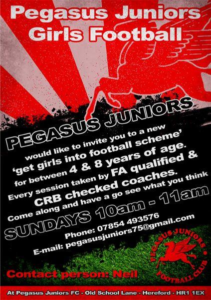 Flyer we designed for Pegasus Juniors Girls Football