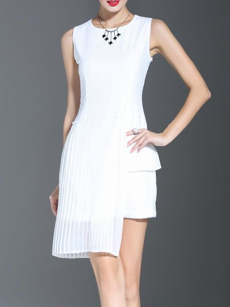 Shop Midi Dresses - White Paneled Crew Neck Plain Statement Midi Dress online. Discover unique designers fashion at StyleWe.com.