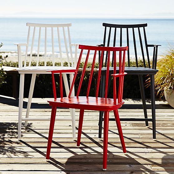 Union Red Dining Arm Chair with Sunbrella® Red Ribbon Cushion in Union Collection | Crate and Barrel