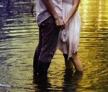 Inspiring image couple, cute, dress, holding hands, love, lovely, romantic, summer, sweet, water, wet