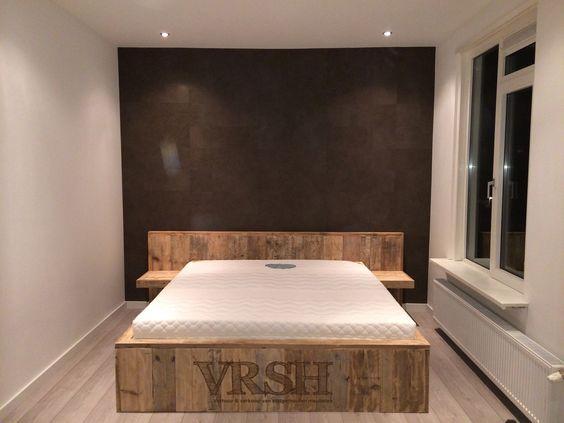 Bed ombouw met nachtkastjes steigerhout interieur pinterest bedden en met - Nachtkastje voor loftbed ...