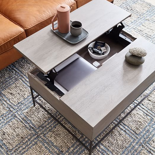 Industrial Storage Pop Up Coffee Table Gray West Elm Coffee Table Industrial Storage Rectangle Coffee Table Wood