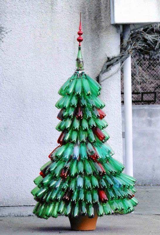 Arvore De Natal De Garrafa Pet Reciclada Con Imagenes Reciclar