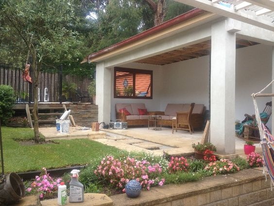 "A perfect addition to any backyard giving shade and protection for the elements. This ""pavilion"" feel space is simple and practical."