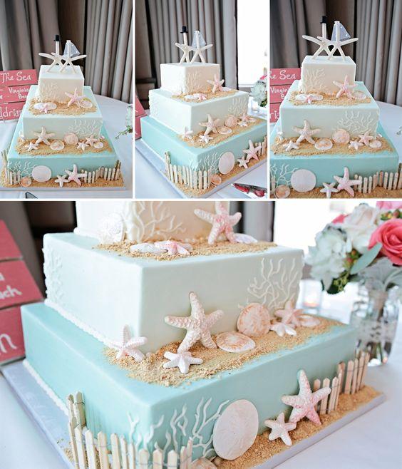 Virginia Beach Wedding Photographer - Adrian & Matt - Beach themed wedding cake