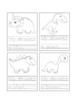 Students can trace each sentence and then color the dinosaur according ...