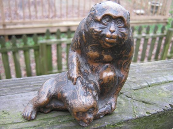 Monkeys, Mother With Baby, Mottled Brown Finish, Unknown Material, Heavy Figurine, Collectible Momma And Baby by Junkblossoms on Etsy