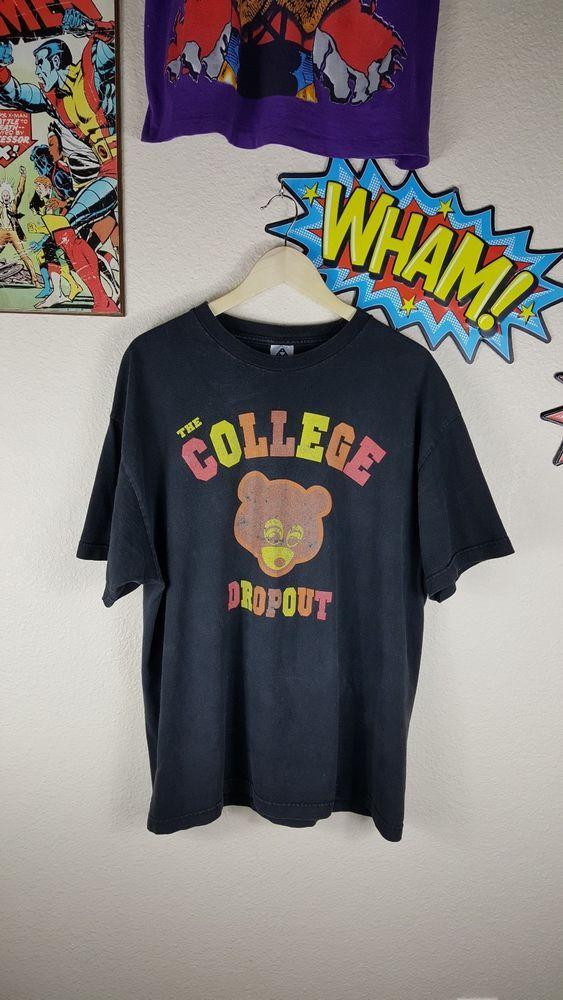 Vintage Kanye West College Dropout Tour Shirt Raptee 2004 Sz Xl Vintage Clothing Men Tour Shirt Kanye West