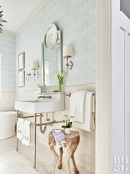 Get Wallpaper In Your Bath This Weekend Bathroom Wallpaper Pretty Bathrooms Bathrooms Remodel