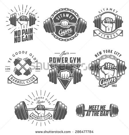 Set of vintage gym emblems labels and design elements for Weightlifting tattoo designs