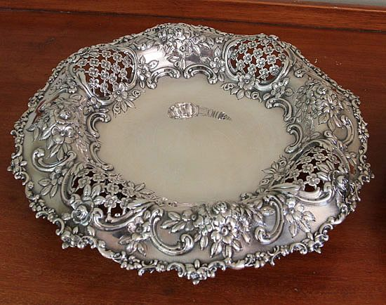 Pair of Tiffany antique sterling silver pierced dishes