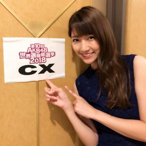 AKB48世界選抜総選挙2018の舞台裏にいる三田友梨佳アナの画像