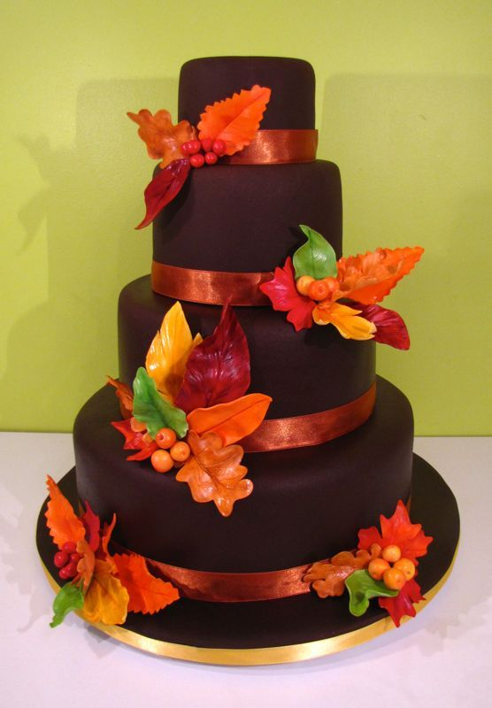 Chocolate Wedding Cakes | Chocolate October Wedding Cake with Sugar Autumn Leaves and Sugar ...