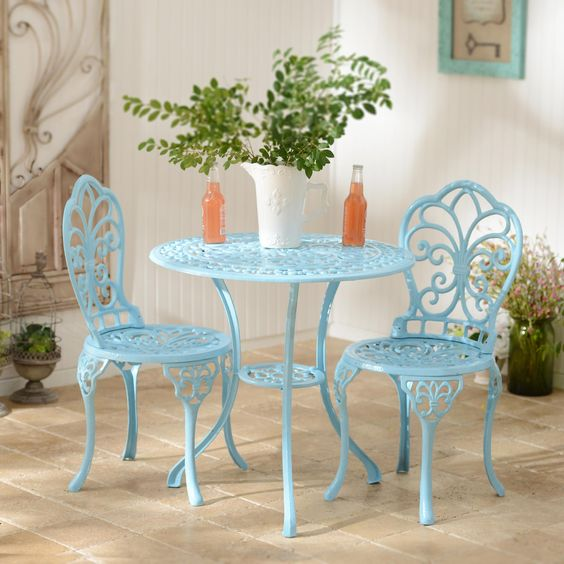 We love this Blue Fleur-de-lis Bistro Set! The cast iron makes it safe for outdoor use. Enjoy breakfast or a simple cup of coffee on this beautiful furniture set!