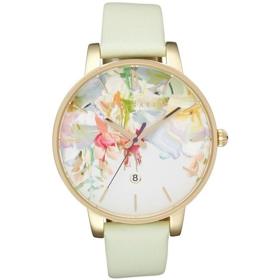 Women's Ted Baker Round Dial Leather Strap Watch, 40Mm ($155) ❤ liked on Polyvore featuring jewelry, watches, ted baker watches, leather band watches, ted baker and leather strap watches