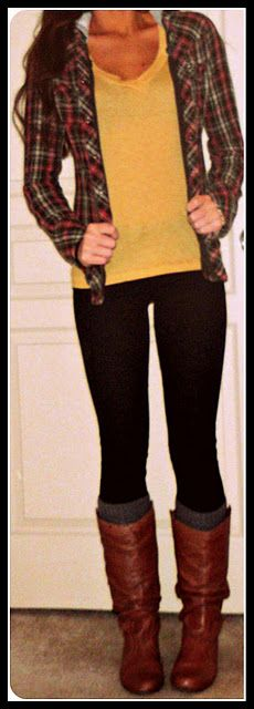 I need more flannel in my wardrobe.: Cute Fall Outfits, Dream Closet, Cute Outfits, Open Plaid, Fall Winter, Boot Socks