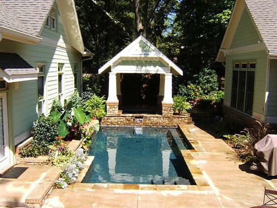 The wharton add a pool and covered hot tub between main for Detached garage pool house