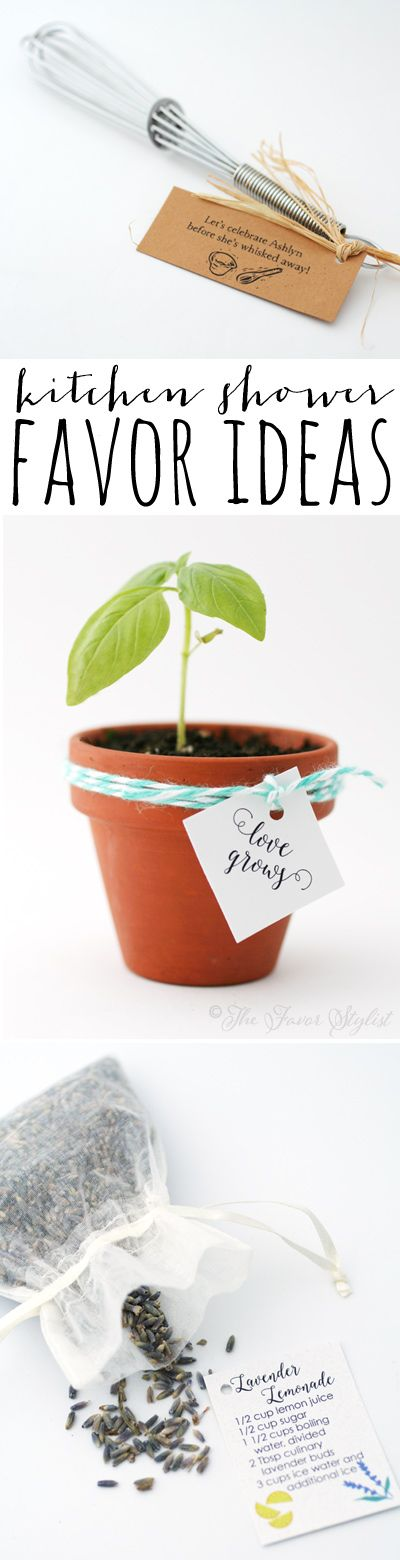 Throwing a kitchen theme bridal shower and looking for interesting favors? Here are a few cute ideas!