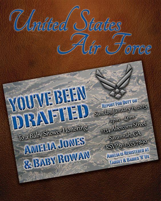 Air Force Wedding Ideas: US Military Baby Shower Digital 5X7 Invitation, DIGITAL
