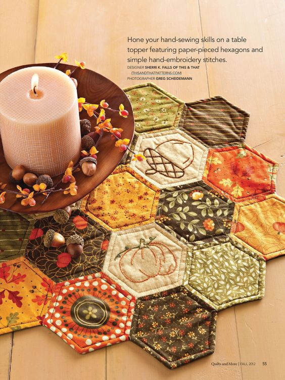 Hexies for Fall..I enjoy creating English Paper Pieced projects.: