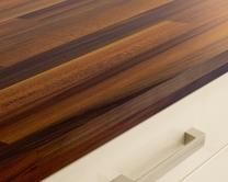Howdens Joinery Iroko Block Effect Square Edged Worktop, Breakfast Bar and Upstand
