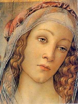 Tópico cultural: Descriptio puellae. Cuadro de Botticelli llamado Madonna. En él se puede ver el retrato de una dama y por ello mismo lo he relacionado con el tópico de la descripción de una mujer.: