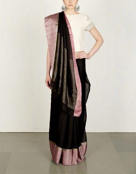Black Herringbone Sari