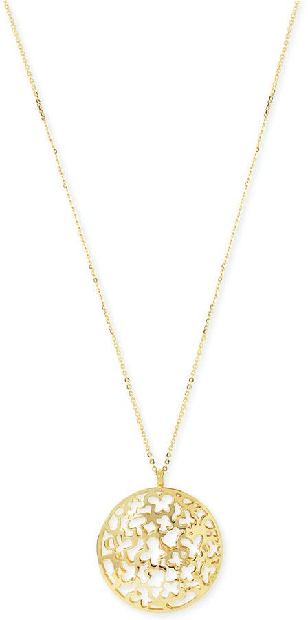 Hint of Gold Filigree Disc Long Length Pendant Necklace in 14k Gold-Plated Metal