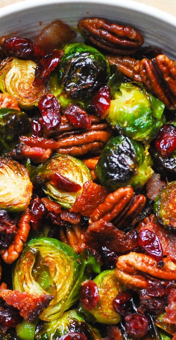 Thanksgiving: Roasted Brussels Sprouts with Bacon, Pecans, and
