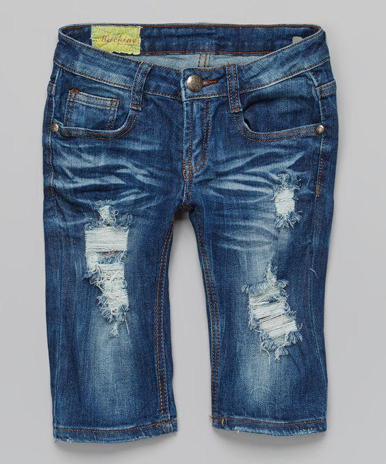 Machine Jeans Inc. Blue Distressed Bermuda Denim Shorts - Women ...