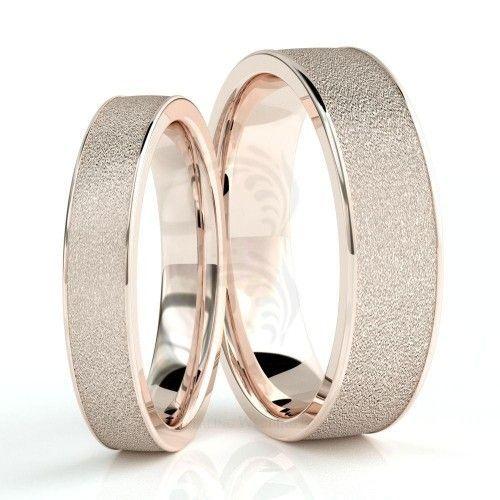10k Rose Gold Polish Sandstone Couples Wedding Rings 4mm 6mm 02252 Couple Wedding Rings Cool Wedding Rings Custom Wedding Rings