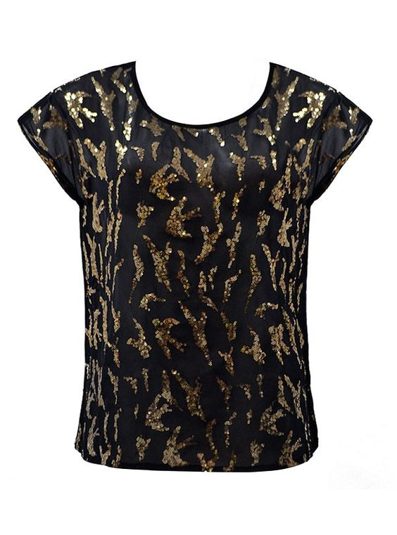 TOP WITH GOLD SEQUIN FRONT