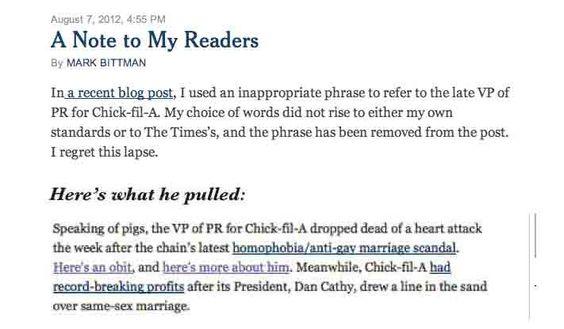 Mark Bittman calls deceased Chick-fil-A PR guy a pig: