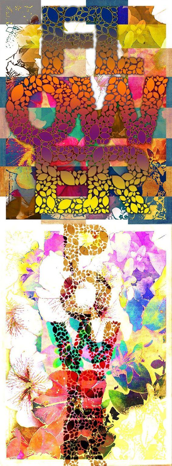 Flower Power. Collage con tipografía floral