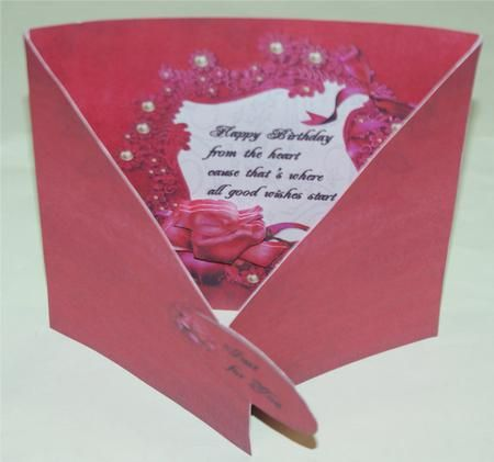 red rose crisscross gatefold on Craftsuprint designed by Cynthia Berridge - made by Christine  Crowther - A pretty design in gorgeous rich red with a lovely sentiment. What more is needed of a card