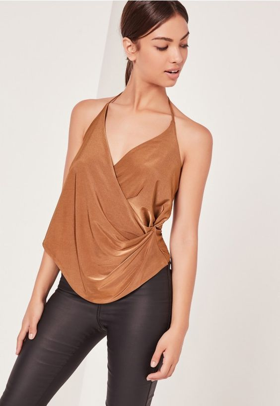 Slinky Wrap Cami Top Brown - Missguided